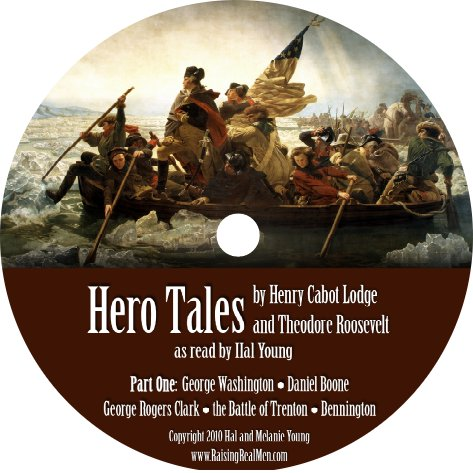 Hal Young reading Hero Tales by Theodore Roosevelt and Henry Cabot Lodge