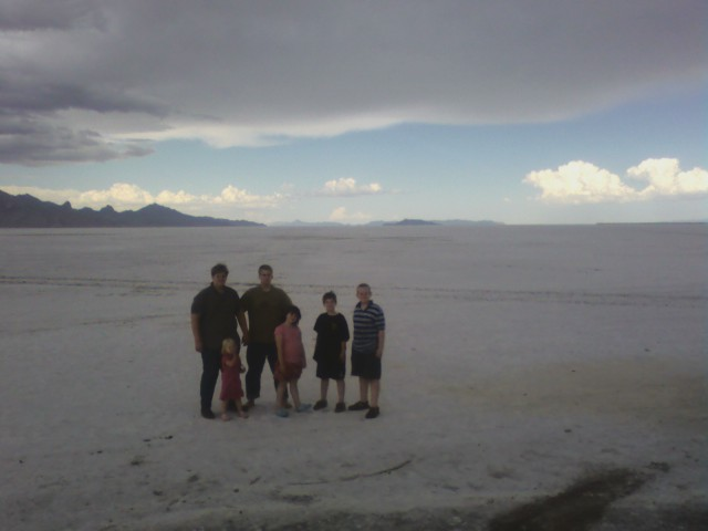 Hal and some of the children at the Bonneville Salt Flats
