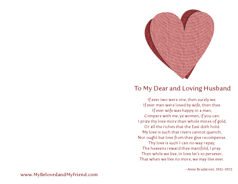 to my dear and loving husband bradstreet Anne bradstreet to my dear and loving husband essay about myself: rc creative writing by uncategorized 0 comments yes i do have 3 essays still to do for tomorrow.