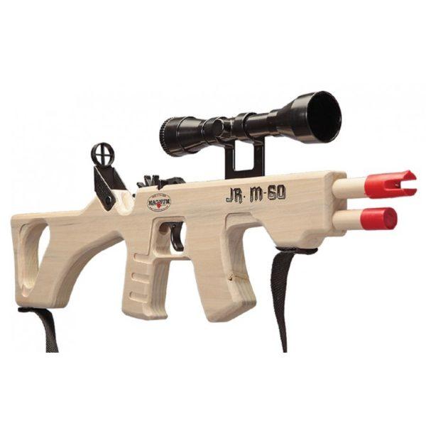 Rubberband gun made of wood shaped like an M-60