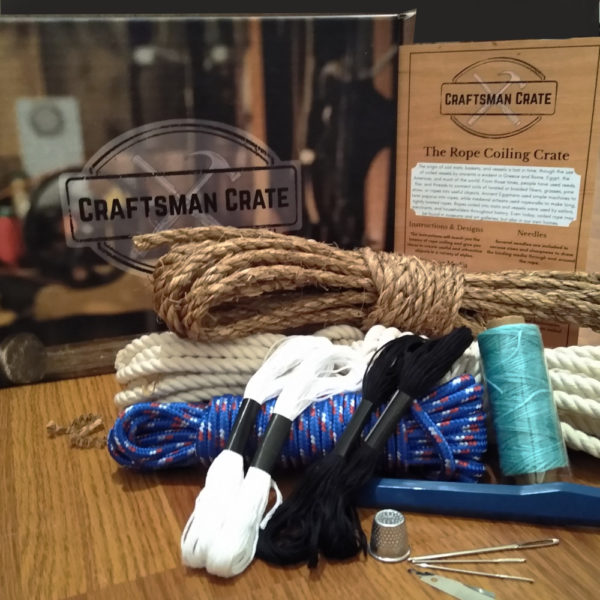 Craftsman Crate Box with Rope and Tools for Rope Coiling